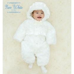 ピュアホワイト*バラ模様フェイクファー防寒ツーウェイオール&帽子セット