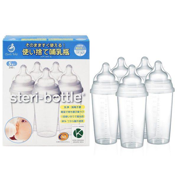 Clovis Baby(クロビスベビー) 【日本正規品】 ステリボトル 消毒不要使い捨て哺乳瓶(240ml)5個入り